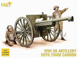 WWI US ARTILLERY WHIT 75MM CANNON X 4 + 32 FIGURER. SKALA 1/72