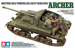 BRITISH SELF PROPELLED ANTI-TANK GUN ARCHER MED 3 FIGURER. SKALA 1/35