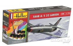 SAAB 32 LANSEN COMPL. WITH CEMENT,BRUSH AND PAINTS. SKALA 1/72