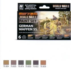 WWII PAINT SET GERMAN WAFFEN SS. 6 X 17 ML.