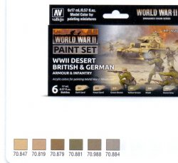 WWII PAINT SET DESERT BRITISH & GERMAN ARMOUR & INFANTRY. 6 X 17 ML.