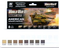 WWII PAINT SET AMERICAN ARMOUR & INFANTRY. 8 X 17 ML.