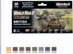 WWII PAINT SET BRITISH ARMOUR & INFANTRY. 8 X 17 ML.