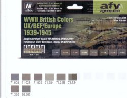 WWII BRITISH COLORS UK/BEF/EUROPE 1939-1945. 8 X 17 ML. MODEL AIR.