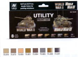 UTILITY PAINT SET WWII & WW III, 6 X 17 ML. FÄRG + 2 X 17 ML. GAME WASH.