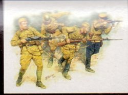 SOVIET INFANTRY IN ACTION 1941-1942. 4 FIGURER. SKALA 1/35