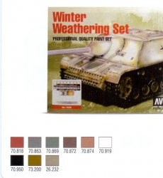 WINTER WEATHERING 7X 17 ML. COLOR. 1 X 17 ML. GAME COLOR WASH. 1 X 35 ML. DIORAMA EFFECTS.