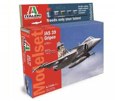 MODEL SET: JAS 39 GRIPEN (DECAL SE + PAINT, BRUSH, GLU) SKALA 1:72